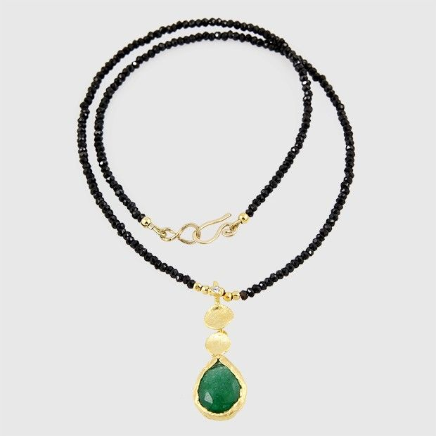 Green Onyx and Black Spinel Necklace, sterling silver work plated in 24k gold.