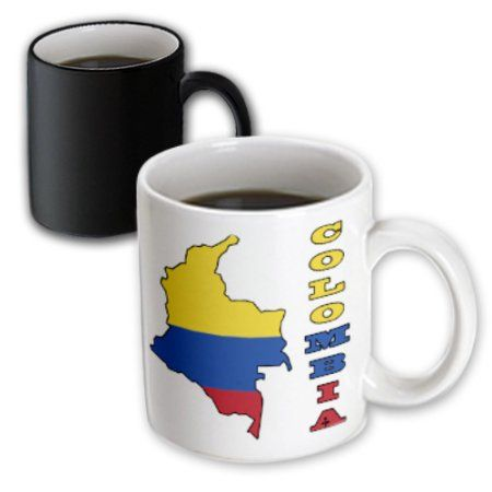 3dRose Colombian flag in the map and letters of Colombia, Magic Transforming Mug, 11oz