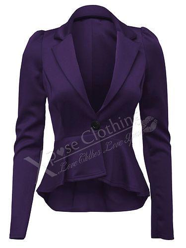 LADIES WOMENS CROP PEPLUM FRILL BLAZER WORK OFFICE JACKET SMART JACKETS COAT TOP | eBay