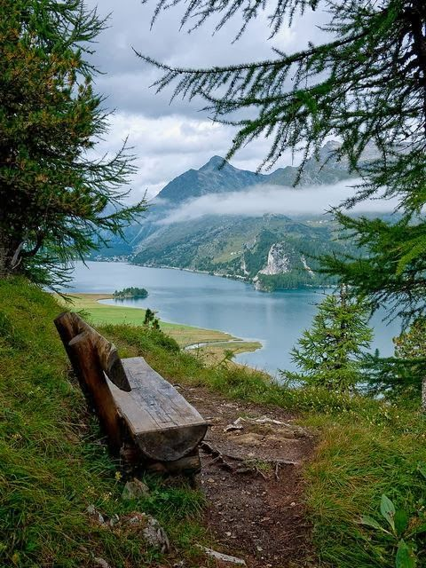 Resting Stop on The Shores of Lake Sils, Switzerland....Would You not Love to be on that Bench right now?!