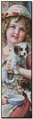New Friends Bookmark - Emile Vernon Fine art cross stitch pattern. Color chart available. http://www.artofstitching.com/index.php?main_page=product_info&cPath=45_169&products_id=1571