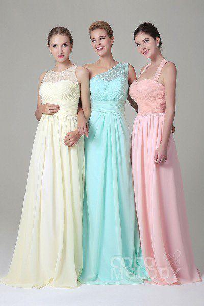 Hot Sale Sheath-Column Illusion Natural Floor Length Lace/Chiffon Sleeveless Zipper Bridesmaid Dress COZK16005
