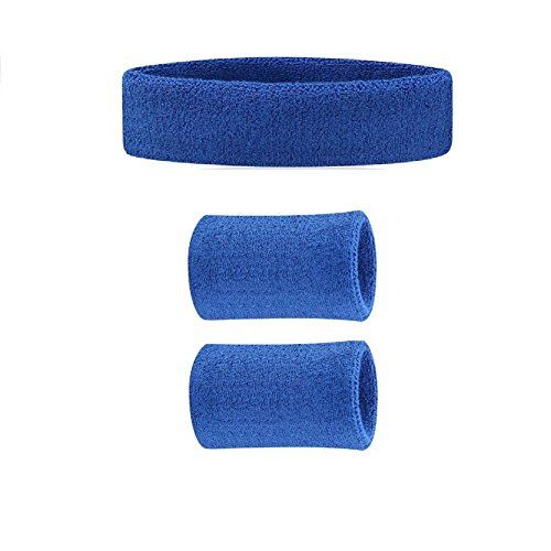 Kagogo colorful Sweatband Set - (1 Headband   2 Wristbands) Cotton for Sports, Tenis, Basketball (Dark Blue) >>> You can find out more details at the link of the image.