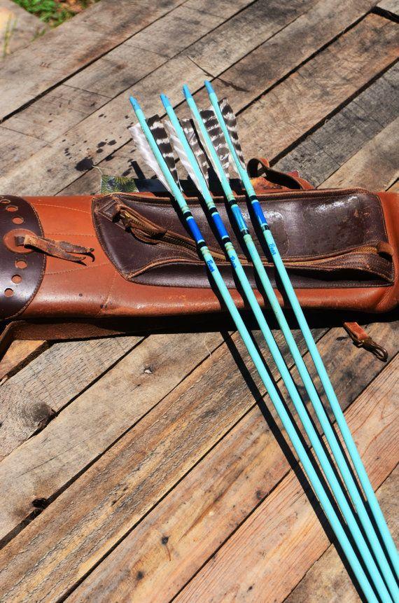 Archery arrows 4 vintage Bear wood arrows. blue by PodunkHollow