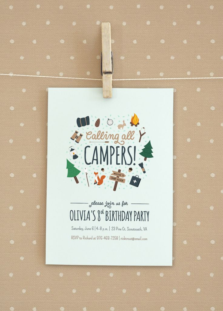Camping / Girl Scout / Boy Scout Birthday Party Invitation by BoldPoppyDesigns on Etsy https://www.etsy.com/listing/224453206/camping-girl-scout-boy-scout-birthday