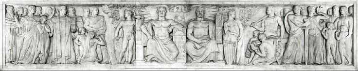 """East Frieze of the U.S. Supreme Court. It represents the """"Majesty of the Law,"""" sitting beside the """"Majesty of Government,"""" and the Roman numerals I-X stand for the ten amendments of the Bill of Rights."""