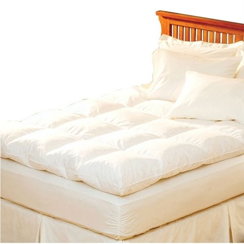Queen Feather Bed Topper with 100% Cotton Quilted Baffle Box Design