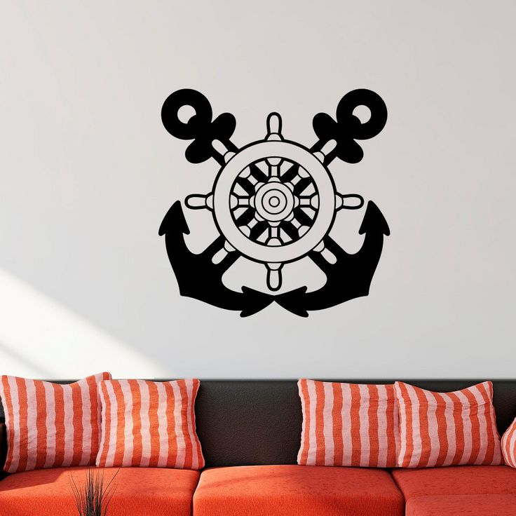 Nautical Wall Decal Anchors Stickers Ship Wheel Decor Custom Color Vinyl Wall Stickers Home Decor Living Room Bedroom Wall J057 #Affiliate