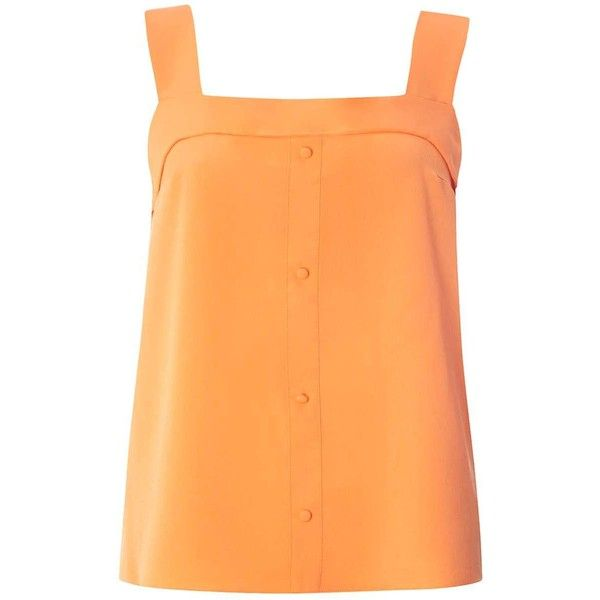 Dorothy Perkins Orange Foldover Button Camisole Top ($35) ❤ liked on Polyvore featuring tops, orange, dorothy perkins, orange cami top, beige cami, orange camisole and orange top