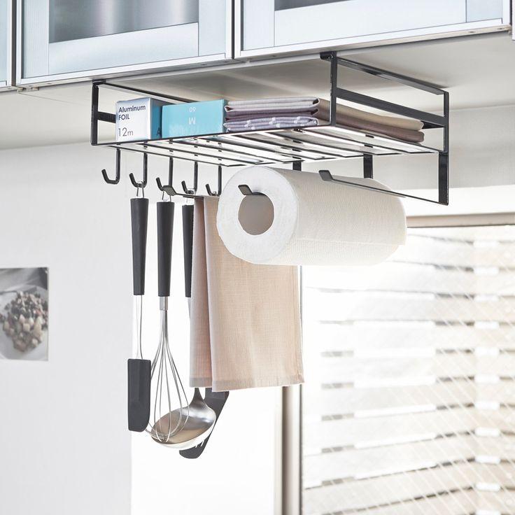 戸棚下のデッドスペースを有効活用!「戸棚下多機能ラック タワー」のご紹介です。キッチンツールを引っ掛けられる便利なフックが5個、布巾などを掛けられるハンガーが3本も付いているので、よく使うお玉やフライ返しなどのキッチンツールからキッチンペーパー、ラップ類まで、さまざまなものを一括収納できます。ラックの隙間を利用して箱タイプのポリ袋やティッシュをそのまま取り出して使うことも◎パスタのストックやスパイス類などの収納にもオススメです。  ■SIZE:幅30.5x奥行26x高さ16cm ■取付可能な吊り下げ戸棚:棚板の厚さ約1.4~2.5cmまでに対応。■キッチンペーパー:高さ24cmの一般的なキッチンロールペーパーに対応  #home#tower#戸棚下収納#戸棚下#キッチンツール収納#ラップ収納#布巾ハンガー#ふきん##キッチン収納#キッチン天然木#収納術#モノトーンインテリア#整理整頓#整理収納#暮らし#丁寧な暮らし#シンプルライフ#おうち#収納#シンプル#モダン#便利#おしゃれ #雑貨 #yamazaki #山崎実業