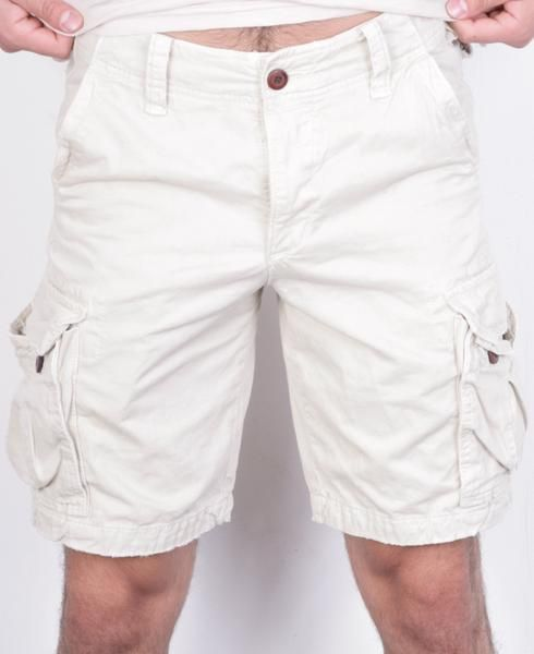 Hollister California Mens 32 Trousers Shorts Bermudas Beige Cotton Pockets - RetrospectClothes