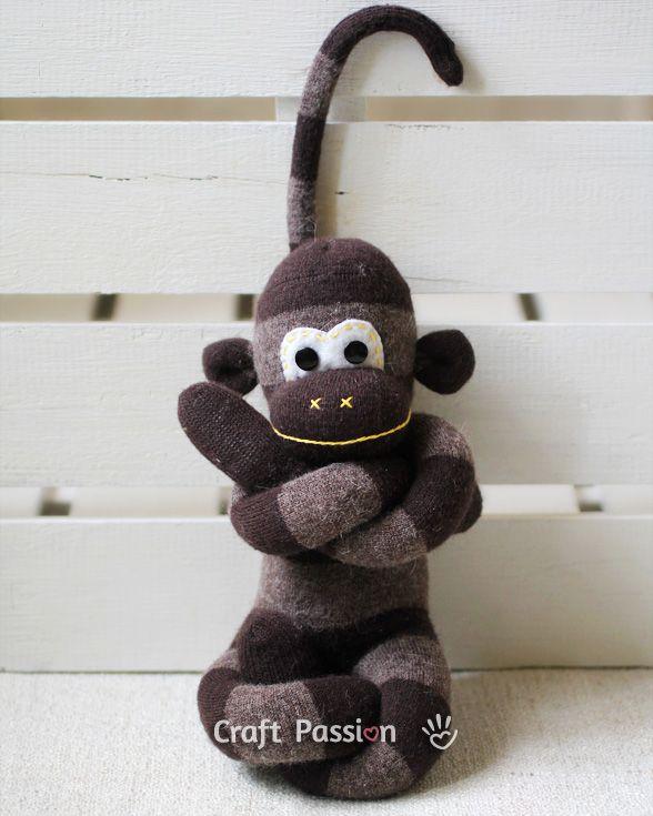 Sew   Sock Monkey   Free Pattern & Tutorial at CraftPassion.com