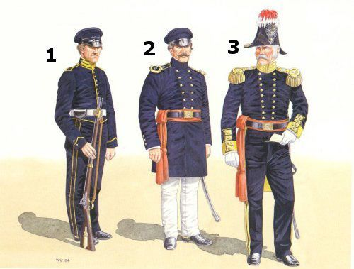 Dragoons and Mounted Riflemen, U.S. Soldiers of the Mexican War. 1-pvt., Regiment of Mounted Riflemen 2- Major of the 2nd Dragoons, 3- Colonel of the 2nd Dragoons.