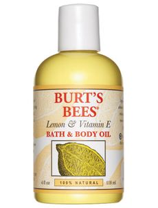 Burt's Bees' Vitamin E  Lemon Oil. Recommended for bath, however I use it as an eye make up remover. Works wonders!