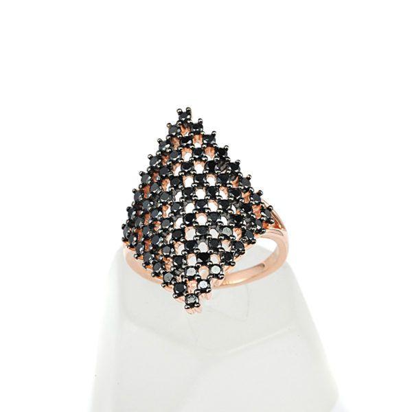 Δαχτυλίδι ρόμβος ροζ επίχρυσο ασήμι 925 ζιργκόν