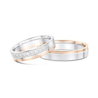 Bicolor-Ringpaar Bellona von wunderring® in 750er Weißgold und Roségold. Auf dem…