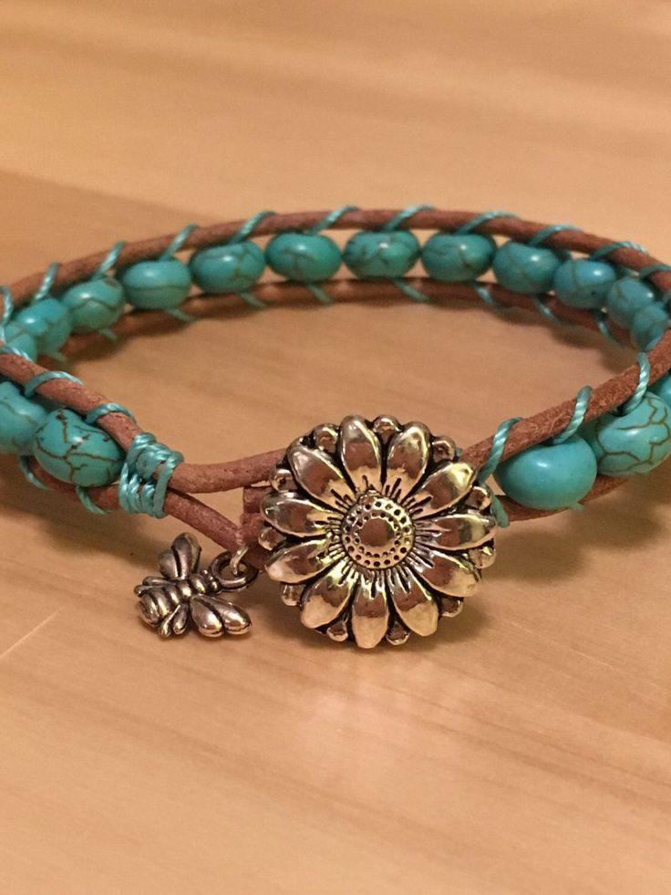 A personal favourite from my Etsy shop https://www.etsy.com/uk/listing/503886143/turquoise-bracelet-on-leather-with-bee