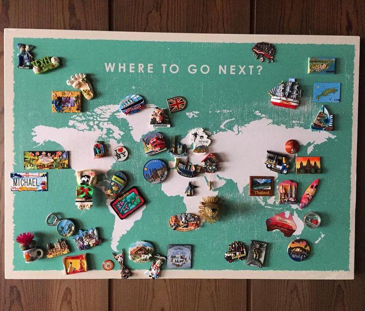 Souvenir magnets display #worldmap #travel #souvenirs #magnets