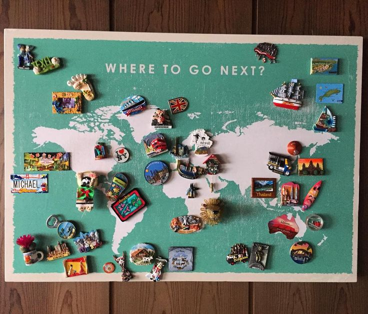 Souvenir magnets display #worldmap #travel #souvenirs #magnets