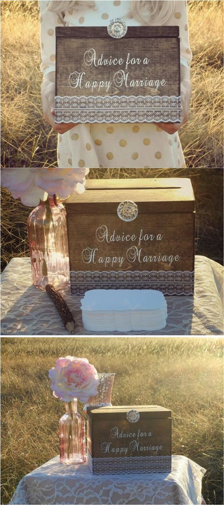 "As you say your I do's, don't forget to collect all the wisdom from your loved ones about tips & tricks for a long happy marriage. This beautiful rustic ""Advice for a Happy Marriage"" box comes with 100 cards and will be a treasure trove of wisdom you can always refer to, in times good & bad. 
