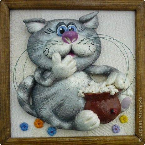 Картина панно рисунок Лепка Ещё коты и кошки  Тесто соленое фото 1