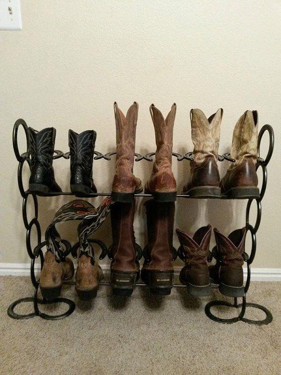 Horseshoe boot rack by HuntingHomeDecor on Etsy, $50.00