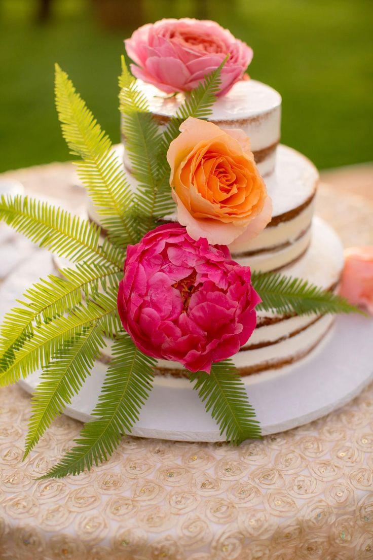 Wedding cake, naked, fronds, peonies // @cjevans325