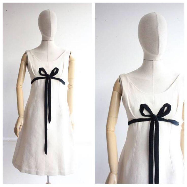 """Beatrice"" Original 1960's Cream Silk Cocktail Dress UK 10"