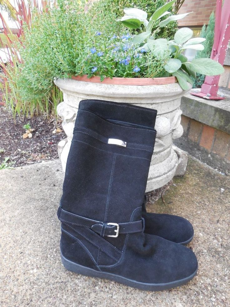 WOMENS BLACK SUEDE FAUX SHEARLING LINED TALLULAH BOOTS COACH 10 M $228 #Coach #KneeHighBoots #Weather