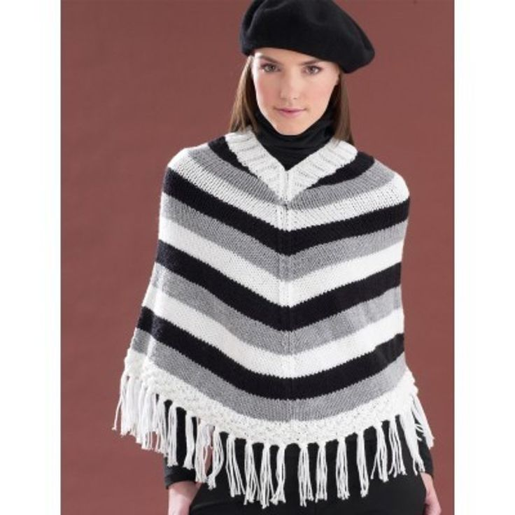 Striped V-Neck Poncho in Bernat Super Value. Discover more Patterns by Bernat at LoveKnitting. The world's largest range of knitting supplies - we stock patterns, yarn, needles and books from all of your favourite brands.