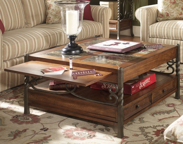 Riverside Medley Square Coffee Table With Drawers The Medley Collection Includes Hardwoods Mixed With Marble