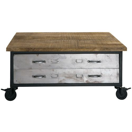 Wood and metal coffee table on castors W 100cm