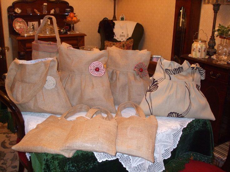 Handmade burlap bags