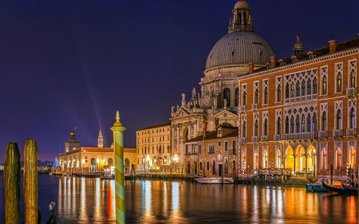 Lataa kuva Venetsia, Santa Maria della Salute, basilika, yö, veneet, Italia