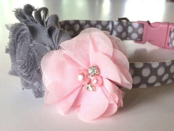 Urban Pink Polka Dot Dog Collar - Girl Dog Collar- Pink and Grey Dog Collar - Handmade Dog Collar