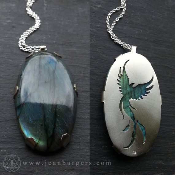Phoenix Pendant - Handcut sterling silver and labradorite - Spirit Animal Series