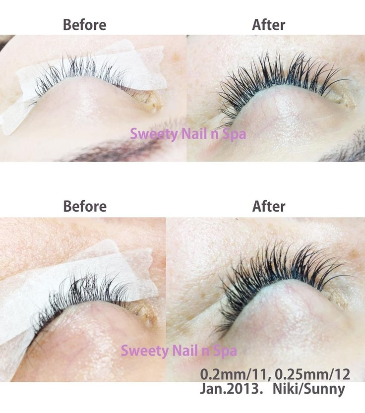 Eyelash extension before and after