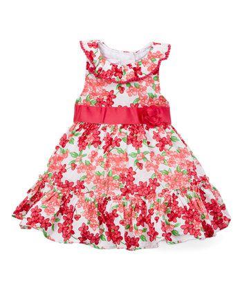 Pink Floral Ruffle-Hem Yoke Dress - Toddler & Girls
