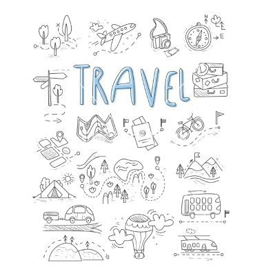 Travel camping icons in doodle style great set vec…
