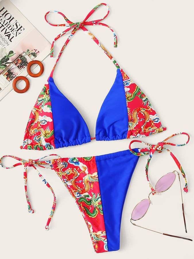 Shein Random Dragon Print – Neckholder-Oberteil mit String-Bikini