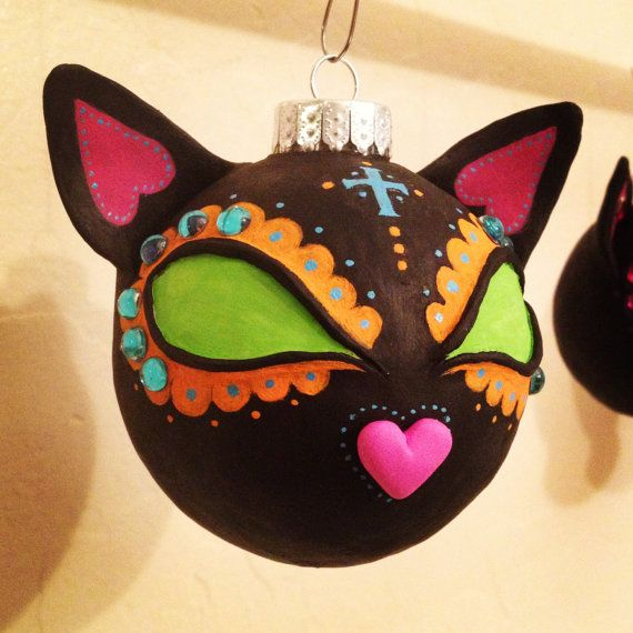 Day of the Dead Black Cat Ornament Sugar by EasilyAmusedGifts, $33.00