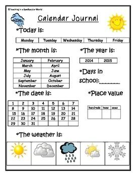 Updated for 2014-2015. This is a calendar journal that I use in my self-contained classroom. It contains minimal writing; my students use a highlighter or crayon to color in the correct answer. This is great for students with limited handwriting skills. It is beneficial for students that are learning days of the week, months of the year, the year, the date, the weather, and days in school with place value.