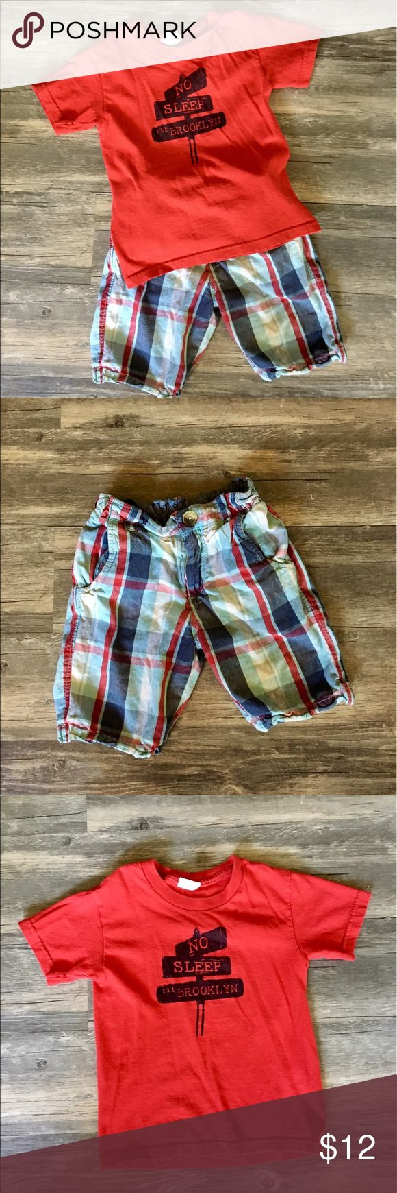 Boy's Peek Outfit The coolest boy's outfit! Includes a red tshirt (size youth small, from Etsy) and Peek brand plaid shorts (size 8 but run very small, more like a six). Bundle 2+ items and save 20%! Peek Matching Sets