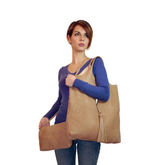 Handmade tote bag  leather bag  Italian Leather  by GanzaDesign