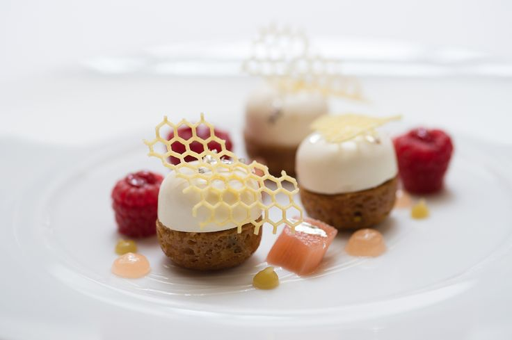 Miel des montagnes du Péloponnèse. Peloponese Honey, Greek yoghurt, cereal biscuit, rhubarb and raspberry. #Luxurydining #Paris #LHotel #LuxuryTravel #Travel #Instafood