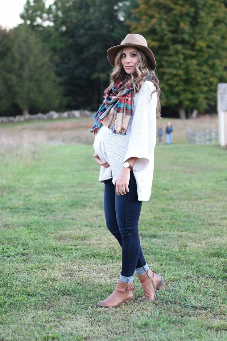 Fall maternity fashion outfit. Comfy sweater with a plaid blanket scarf, panama hat, and ankle booties.