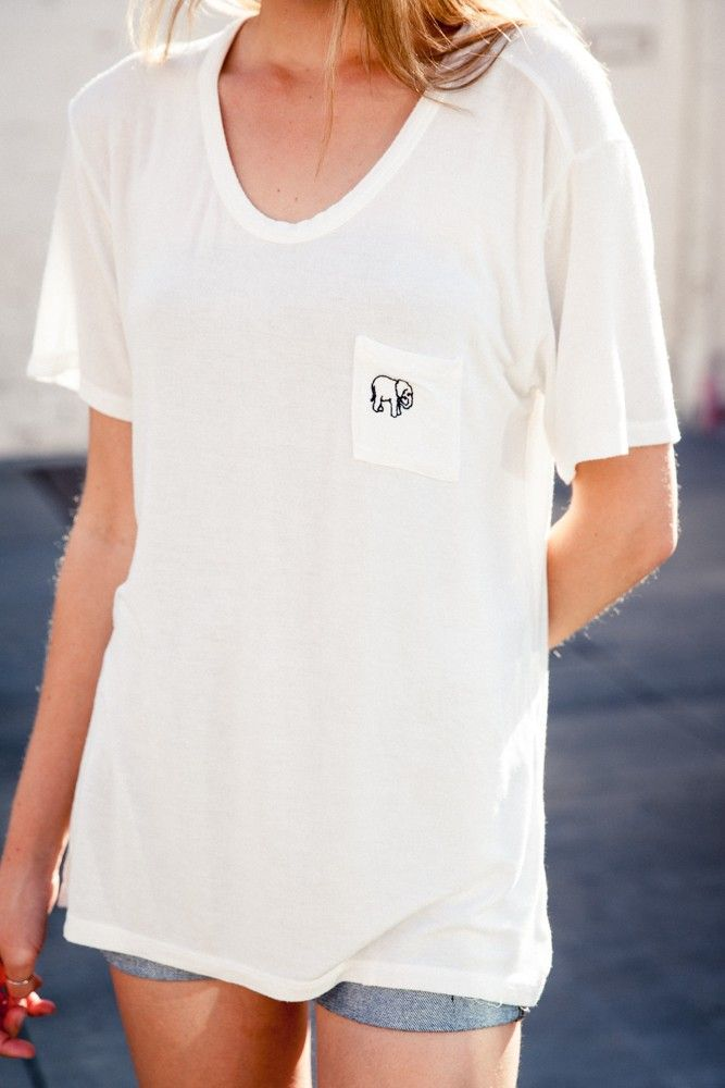 Brandy ♥ Melville | Quinn Elephant Embroidery Top - Graphics