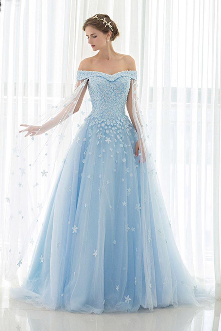 Ice blue tulle off shoulder prom dress,ball gowns wedding dress