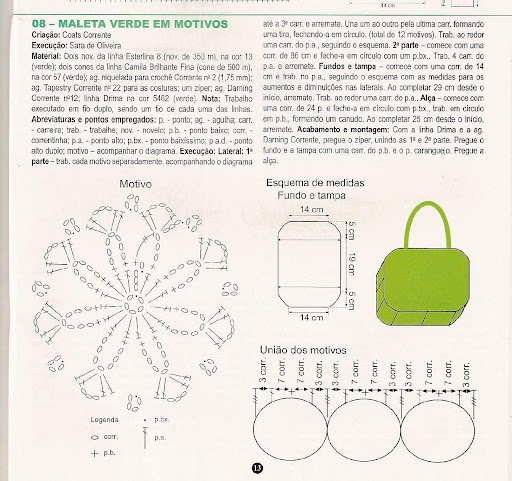 Crochet Bag Chart : Green crochet bag chart Crochet ~Bags Pinterest
