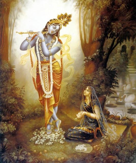 """The essential part of love of Godhead is called mahābhāva, transcendental ecstasy, and that ecstasy is represented by Śrīmatī Rādhārāṇī."" - CC Madhya 8.161"